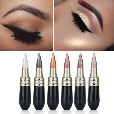 6 Farben Augen Make-up Eyeshadow Eyeliner Pen 2 in 1 Bleistift Metallic Kosmetik