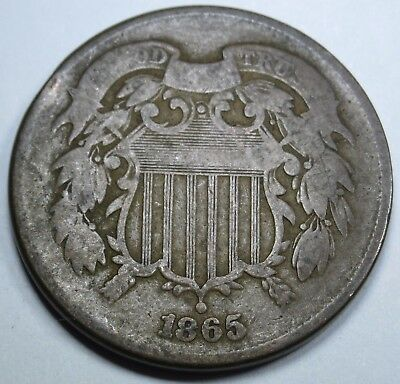 1865 Two Cent Piece 2 Penny US Antique Currency Old Vintage U.S. Coin Collection