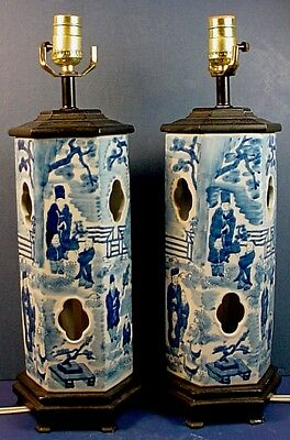 Pair Vintage Chinese Blue & White Porcelain Hexagonal Hat Stands / Lamps