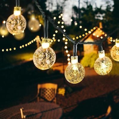 Solar Powered 30 LED Crystal Balls Outdoor String Light for Outdoor Patio Party