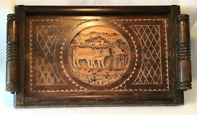 Antique c.1880s Eastlake Aesthetic Hand Carved German Mahogany Wood Tray - NICE!