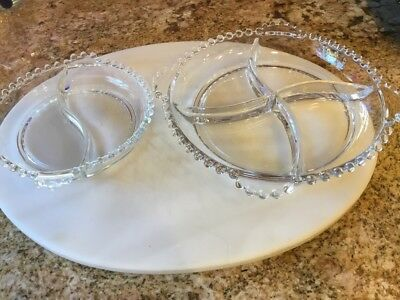 """Two Divided Dishes  6 1/4"""" & 8 1/2""""  Candlewick Clear By Imperial Glass-O"""