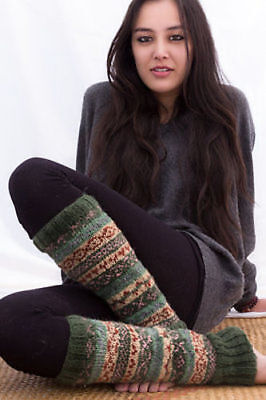Knit Wool Leg Warmers-Soft and Warm Woolen Legwarmers (Green WO018)