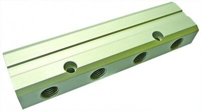 """MBAD04/02/04 Aluminium Dble Sided Manifold BSPP F Inlet 1/4"""" BSPP F 4x 1/8"""" Out"""