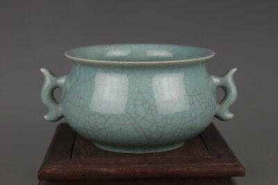 Rare Chinese Ru kiln Celadon Crackle Glaze Porcelain incense burner /Pot