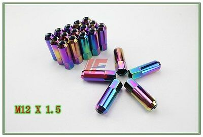 NEO CHROME Wheel Tuner Lug Nuts External Drive M12 x 1.5mm - 60mm long FOR Honda