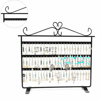 72 Holes Earrings Necklaces Jewelry Display Rack Metal Stand Holder Storage Gift