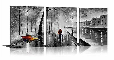 Large Modern Wall Art Canvas Framed 3 Panels Abstract Cityscape Oil Paintings