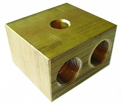 """CICMB03/02 ITM Brass Connector Block Inlet OD 3/16"""" - Inlets/Outlets: 2"""