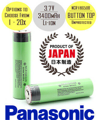 Panasonic NCR18650B 3400mAh Lithium Rechargeable Battery Unprotected Button Top