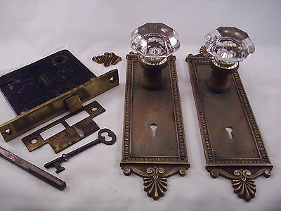 Antique Brilliant 8 Pt Glass Door Knob Set Yale & Towne Mortise Lock & Key #607