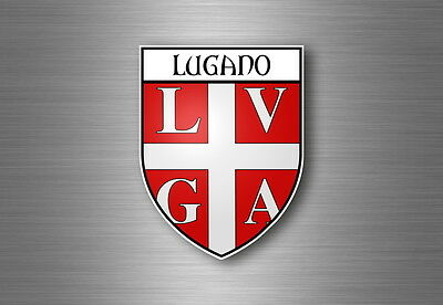 Sticker Car Motorbike Coat of Arms City Flag Badge Lugano Swiss