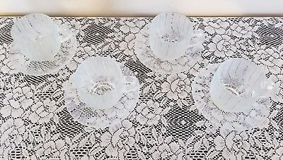 Antique Arcoroc Clear Glass Tea Coffee Cups and Saucers Retro Drinkware Set of 4