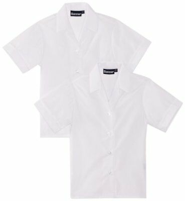 "Bianco 48"" Chest BLUE MAX BANNER REVERE TWIN PACK SHORT SLEEVE SCHOOL CAMICETTA"