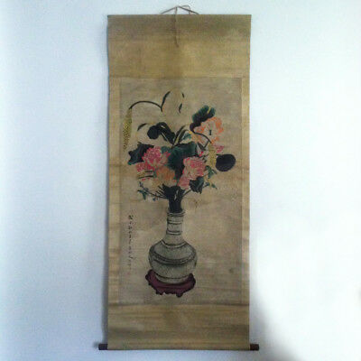Antique Chinese, Japanese Hanging Scroll Lotus Flower ink On paper Painting VTG