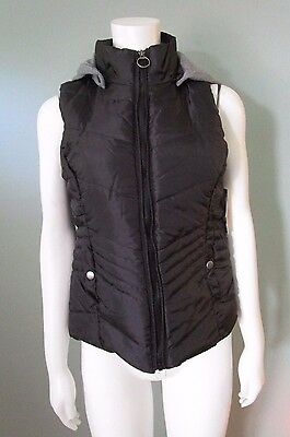 Junior's Black Quilted Vest - Puffy - With Collar - Bongo - Size M - New