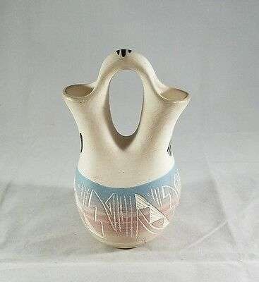 Lee Nav Etched Native American Double Necked Vase