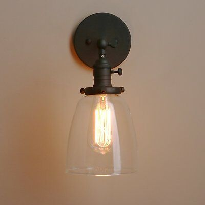 """Loft Vintage Wall Light Dia 5.6"""" Wall Lamp with oval Clear Glass Shade Design by"""