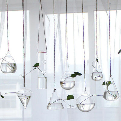 1pc Clear Hanging Flower Vase Planter Terrarium Container Glass Home/Party Decor