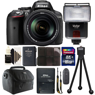 Nikon D5300 24.2MP DSLR Camera w/ 18-140mm VR Lens , Slave Flash & Accessory Kit