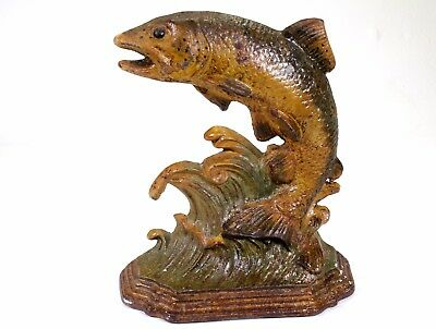 "Antique Large Painted Cast Iron Trout  Door Stay / Stop  8"" tall 7"" wide"