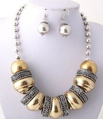 SALE Antique Silver Necklace Metal Circles Gold Tone Beads Necklace Set Fashion