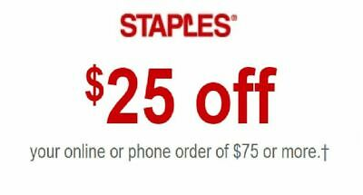 Staples $25 off $75 Coupon Exp 6/19/2020 FAST DELIVERY