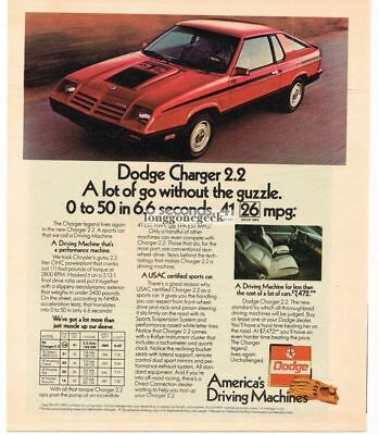1982 Dodge CHARGER 2.2 Red 2-door Coupe Vtg Print Ad