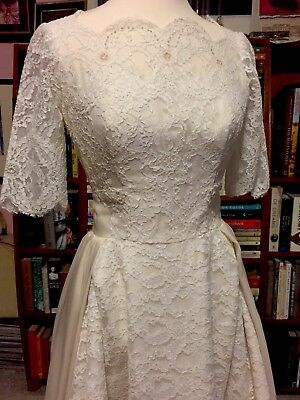 Vintage 1950s EDYTHE VINCENT ALFRED ANGELO ORIGINAL SILK LACE WEDDING GOWN XS