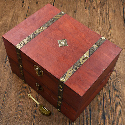 Vintage Wooden Box Metal Lock Storage Box Chest Case Home Decor Ornaments New