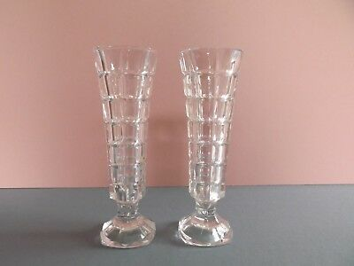 Pair of Footed Glass Vases with Square Cut Design (64,165)