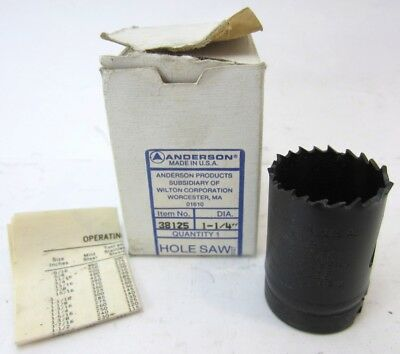 """Anderson Hole Saw 38125 Dia. 1-1/4"""" New in Box"""