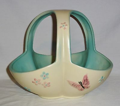 """Hull Pottery Butterfly Three Handled Basket 56 (10"""" Tall)"""