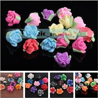 DIY 10/30/50pcs 11~30mm Mixed Color Polymer Clay Flower Spacer Loose Beads