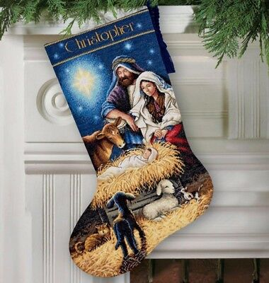 """DIMENSIONS GOLD """"HOLY NIGHT STROCKING """"CROSS STITCH   Kreuzstichpackung 41 CM"""