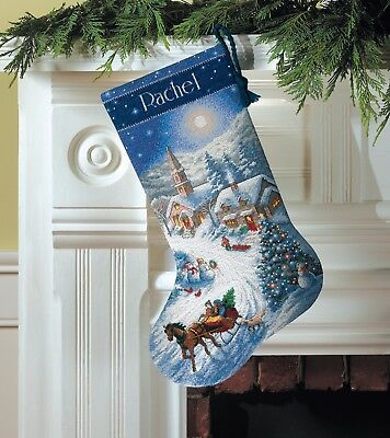 "DIMENSIONS GOLD ""SLEIGH RIDE AT DUSK STROCKING ""CROSS STITCH   Kreuzstichpackung"
