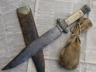 """Rare, California gold rush antique Bowie knife w/sheath """"FOR THE GOLD REGIONS"""""""
