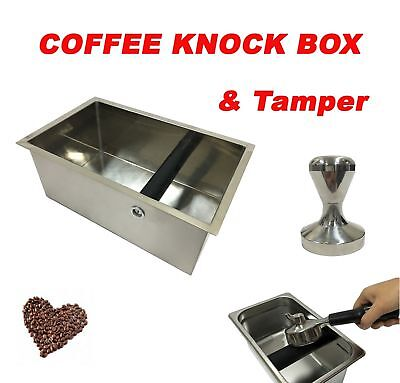 Knock Box & Coffee Tamper 51mm Kitchen Waste Bin Barista Espresso Grind Waste