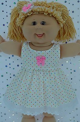 """Play n Wear Doll Clothes For 16"""" Cabbage Patch MULTI POLKA DOT DRESS~HEADBAND"""
