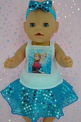 "Play n Wear Doll Clothes For 17"" Baby Born TURQUOISE SEQUIN SKIRT~TOP~HEADBAND"