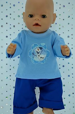 "Play n Wear Doll Clothes To Fit 17"" Baby Born  ROYAL BLUE DRILL PANTS~T-SHIRT"