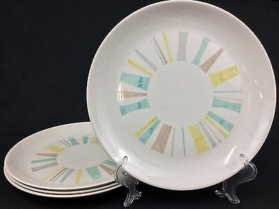 """Vernon Ware Metlox Anytime FOUR (4) 13 1/4"""" Chargers Platters Turquoise Yellow"""
