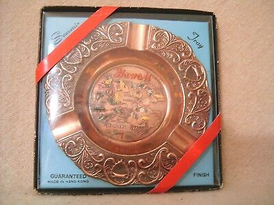 Vtg Nos Hawaii Copper Plated Souvenir Ashtray Nib *free Shipping*
