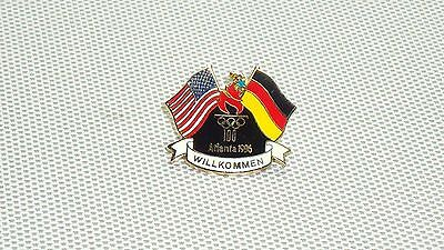 Collectible Atlanta 1996 Olympic Games Usa And Germany Flags Willkommen Pin