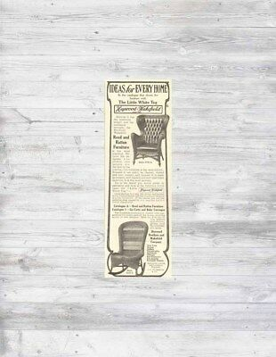 Antique 1906 Heywood Wakefield WICKER Rocking CHAIR Reed Rattan Furniture Ad