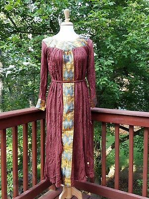 Ethiopian Traditional  Brown  Summer Long Sleeves  Dress 100%  Cotton Sz M / L