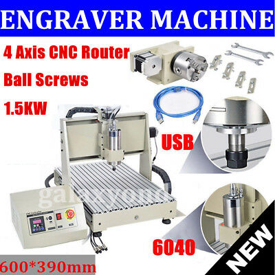 Usb Cnc Router Engraving Machine 4Axis 6040T Cutter Crafts Carving Ball-Screw