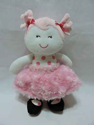 "Baby Starters Doll Pink Polka Dot White Plush Cute Lovey Rashti 11"" Soft"