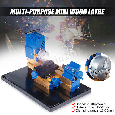 Multi-purpose DIY Mini Wood Lathe Bead Hobby Grinder Drill Machine 3 Jaw Chuck