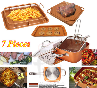 Copper Square Pan Induction for Chef 4-PC Set Double Griddle Knife Oven Crisper